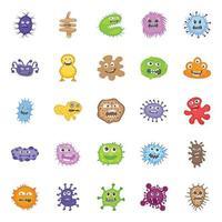 conjunto de microorganismos y bacterias de dibujos animados vector