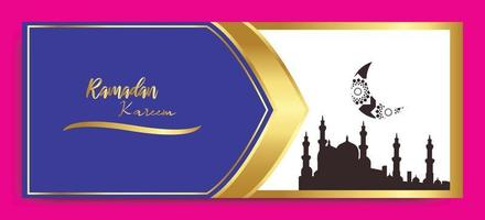 elegant ramadan background banner blue white gold colour vector template