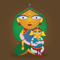 Goddess Durga with son vector