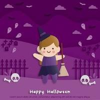 Happy Halloween party in paper art style with child wearing a witch costume. greeting card, posters and wallpaper. Vector illustration.