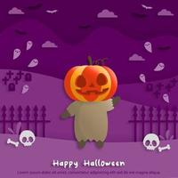 Happy Halloween party in paper art style with child wearing a pumpkin costume. greeting card, posters and wallpaper. Vector illustration.