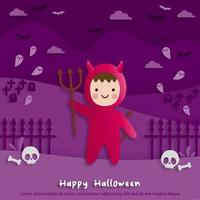 Happy Halloween party in paper art style with child wearing a red devil costume. greeting card, posters and wallpaper. Vector illustration.