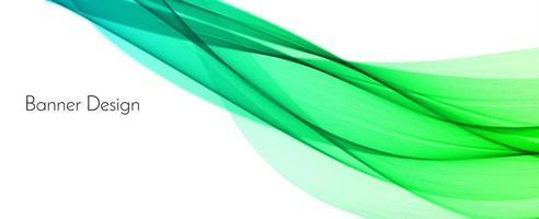 Fondo de banner de diseño de onda decorativa moderno verde abstracto vector