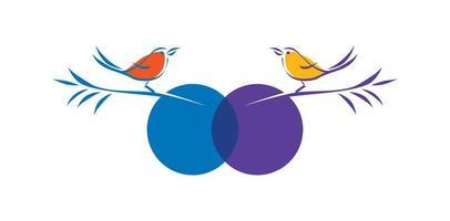 signo de vector de línea de pájaro