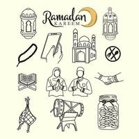 ramadan kareem sketch set icon vector design ,line art and outline style