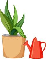 Plant in a pot with red watering can vector
