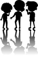 Set of kids silhouette with shadow