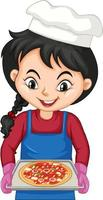 Chef girl cartoon character holding pizza tray vector