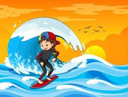 Big wave in the ocean scene with girl standing on a surf board vector