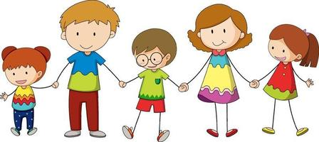Three kids holding hands cartoon character hand drawn doodle style isolated vector
