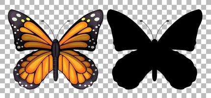 Butterfly and its silhouette vector