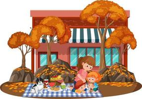 Mother with her children in the park isolated vector