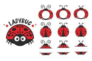 Vector cartoon cute black polka dot red ladybug Isolated on background