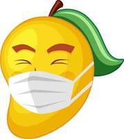 personaje de dibujos animados de mango con máscara con expresión facial vector