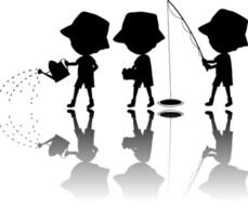 Set of kids silhouette with shadows vector
