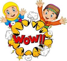 WOW word on bomb explosion with muslim children cartoon character isolated vector