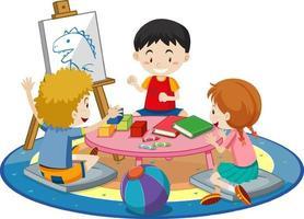 Students with kindergarten room elements on white background vector