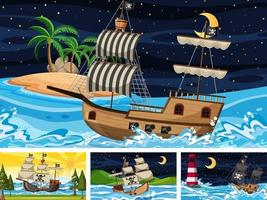 Set of Ocean with Pirate ship at different times scenes  in cartoon style vector