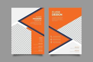 Orange corporate flyer template with geometric shapes