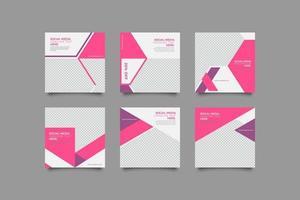 Pink women fashion instagram post set vector