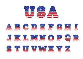 Lettering design with american flag For decoration on the American Patriotic Day