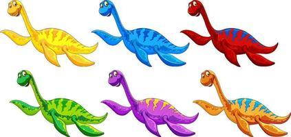 Set of pliosaurus dinosaur cartoon character vector