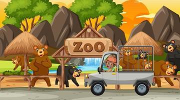 safari en la escena del atardecer con niños viendo el grupo de osos vector