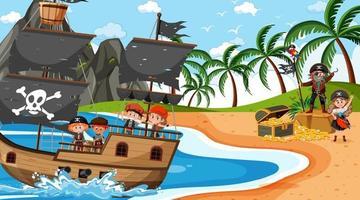 playa durante el día con niños piratas en el barco. vector