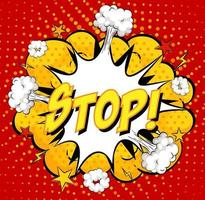 STOP text on comic cloud explosion on red background vector