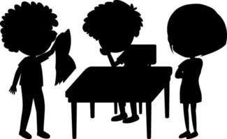 Set of kids silhouette cartoon character
