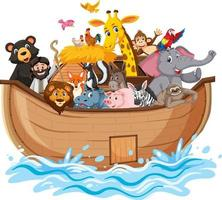 Noah's Ark with Animals on water wave isolated on white background vector
