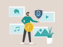 Illustration concept of converting artwork into digital NTF tokens vector