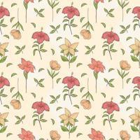 flor tropical de patrones sin fisuras dibujados a mano vector