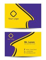 yellow business card vector template