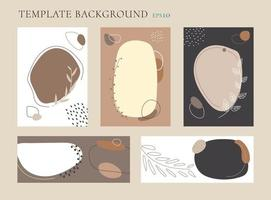 Set of abstract organic collage hand drawn scandinavian botanical color backgrounds. vector