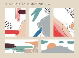 Set of abstract banner, cover brochure, poster modern paint brush pattern with hand drawn on white background