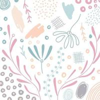 Abstract hand drawn scribble organic shape floral, leaves, natural elements pastel color on white background vector