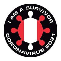 I am survivor coronavirus 2021 peru flag sticker vector