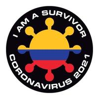 I am survivor coronavirus 2021 Colombia flag sticker vector