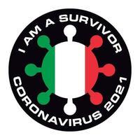 soy superviviente coronavirus 2021 bandera de italia pegatina vector