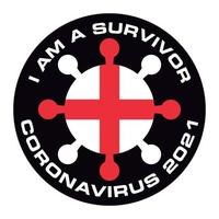 I am survivor coronavirus 2021 England flag sticker vector