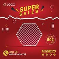 Supper sales social media marketing flyer vector
