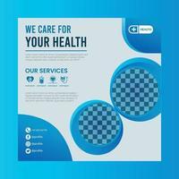 Health care marketing social media flyer vector