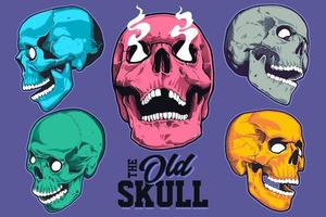 Pop Art Style Skulls Vector Set