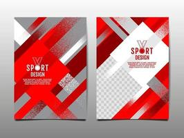Red and White Grunge Sports Template Set vector