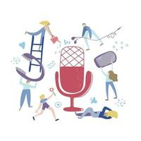 Audio chat concept, podcast show hand drawn flat vector illustration. People listening together for creating aodio chat, podcast, radio. Isolated illustration