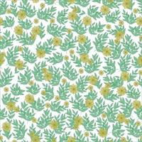 Floral pattern. Pretty yellow flowers, green leaves on white background. Printing with small flowers and branches. Vintage flowers pattern. Simple floral background for fabric, wrapping and scrapbook. vector