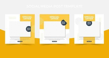 Set of Editable minimal square banner template. social media post and web internet ads with photo collage. vector