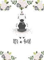 Cute simple vector baby shower card. Adorable little baby zebra, black and pink flowers on a white background with the text 'It's a girl'.