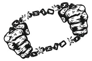 Fist with chain shackle by hand drawing. Graphic hand Screen Printed T Shirt vector